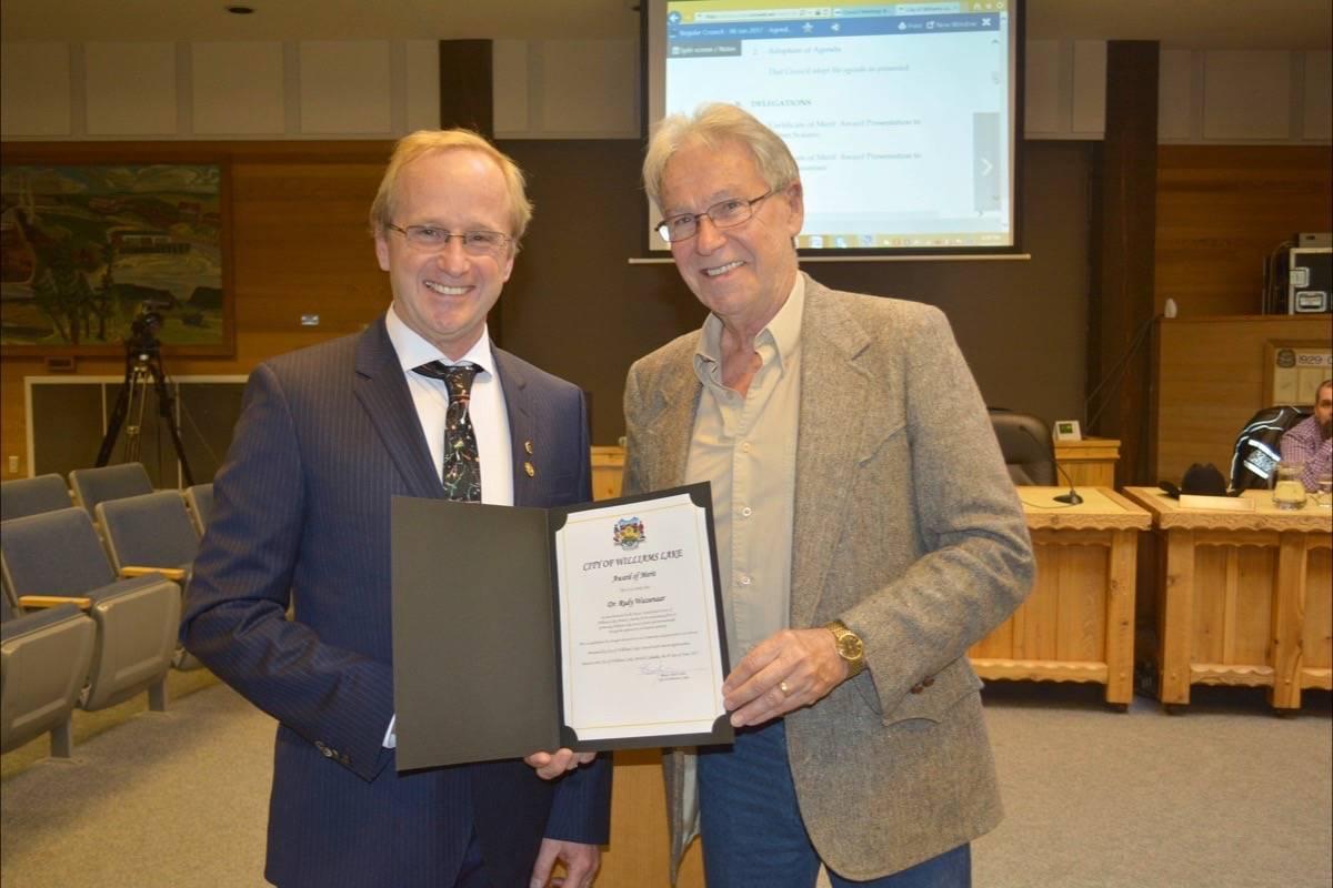 dr wassenaar awarded certificate of merit by mayor of williams lake british columbia